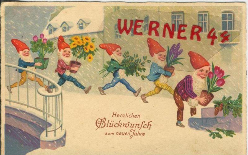 Herzlichen Glückwunsch zum neuen Jahr v. 1934  5 Zwerge bringen Blumen  --  (36647)