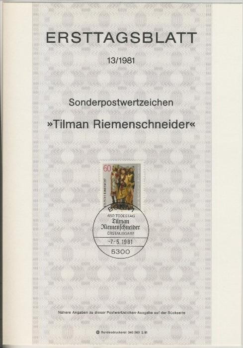 BRD - ETB (Ersttagsblatt)  13/1981 0