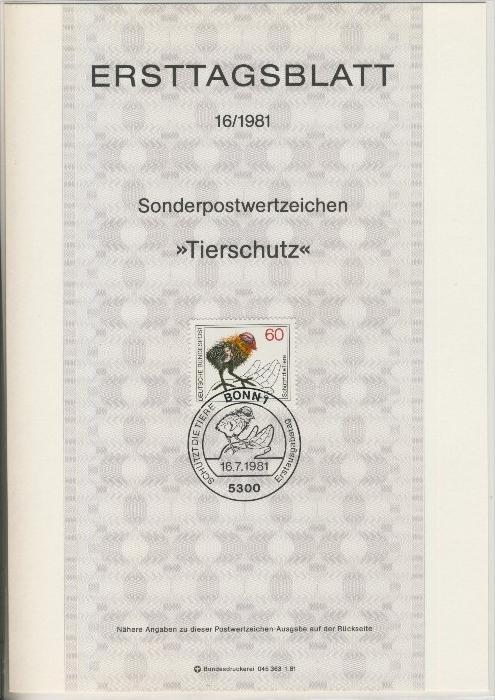 BRD - ETB (Ersttagsblatt)  16/1981 0
