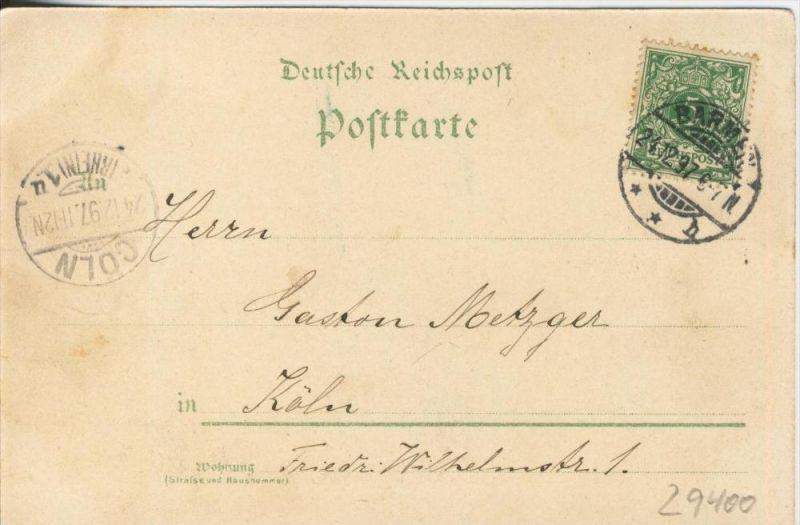 Wintergruss aus Barmen v. 1897  Eislaufen,Schneemann usw.  --  siehe Foto !!  (29400) 1