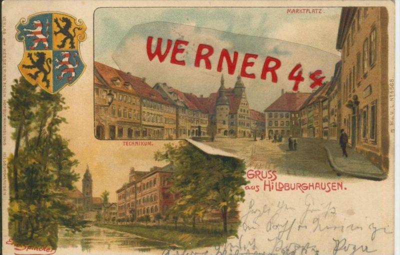 Gruss aus Hildburghausen v. 1902 Marktplatz & Technikum  --  siehe Foto !!  (29402) 0
