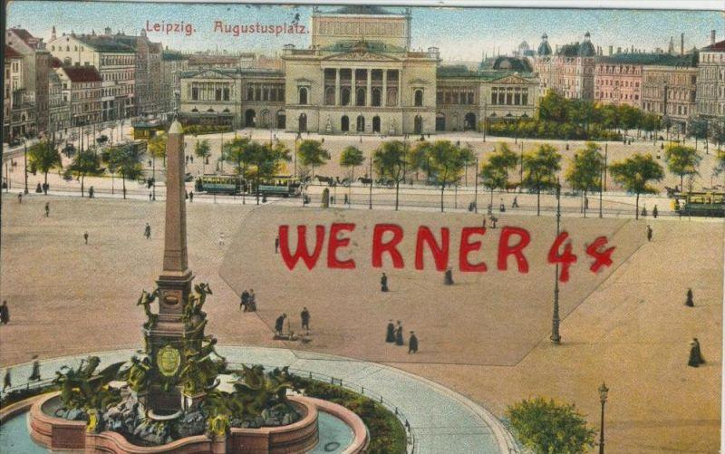 Leipzig v. 1910  Der Augustusplatz mit Strassenbahn   ()  --  siehe Foto !!  (29414) 0