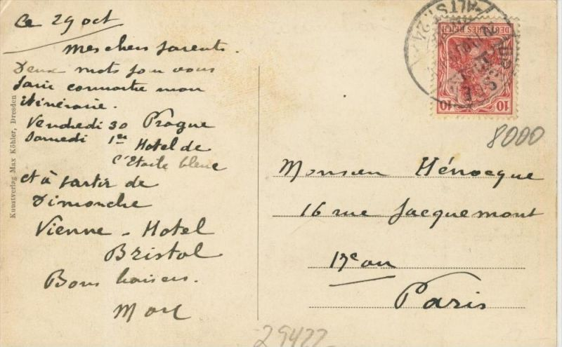 Dresden v. 1903   Sendig-Hotel Europäischer Hof und die Prager Strasse  ()  --  siehe Foto !!  (29422) 1