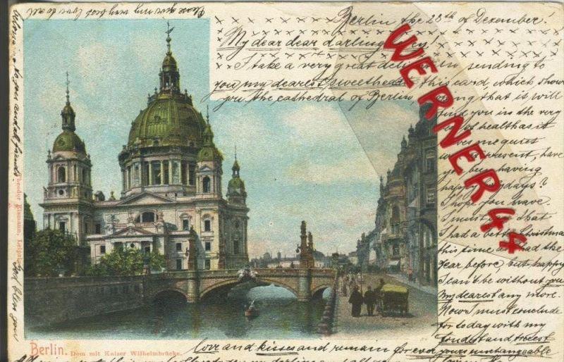 Berlin v. 1902  Dom & Kaiser Wilhelm Brücke und Strasse mit Kutsche  ()  --  siehe Foto !!  (29429) 0