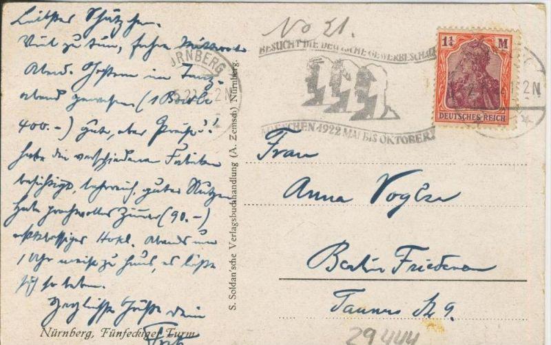 Nürnberg v. 1922  Fünfeckigerturm  ()  --  siehe Foto !!  (29444) 1
