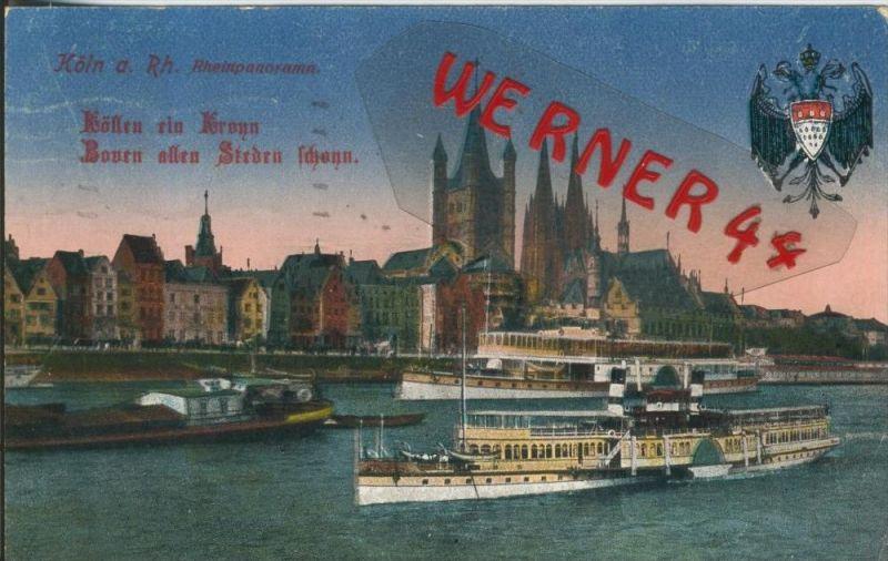 Köln v. 1917  Teil-Stadt mit Schiffe  ()  --  siehe Foto !!  (29473) 0
