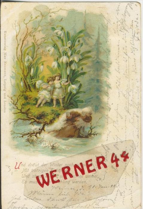 Zwei Engel und der Teufel auf dem Stein am Wasser v. 1899   ()  --  siehe Foto !!  (29484) 0