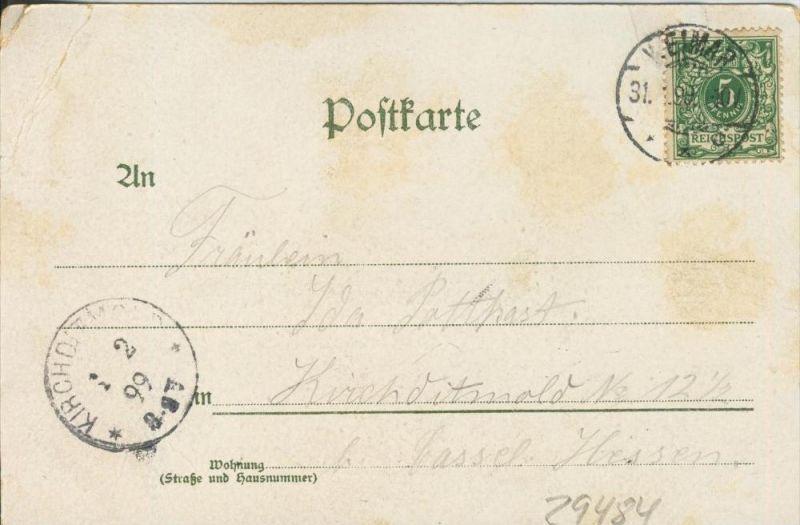 Zwei Engel und der Teufel auf dem Stein am Wasser v. 1899   ()  --  siehe Foto !!  (29484) 1