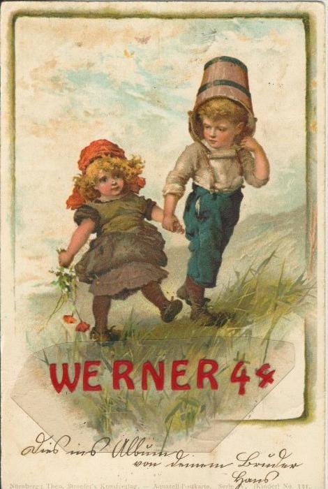 Ein Junge und Mädchen auf einer Wiese v. 1906   ()  --  siehe Foto !!  (29493) 0