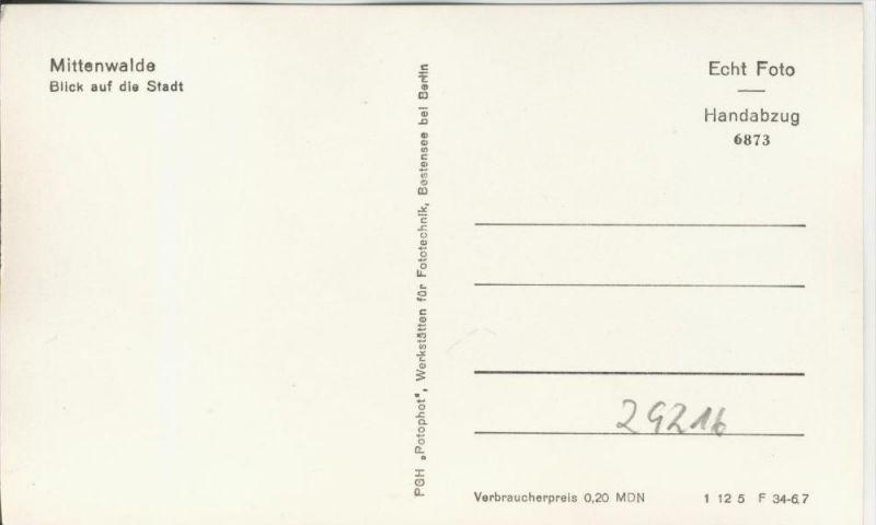 Mittenwalde v. 1967  Blick auf die Stadt  --  siehe Foto !!  (29216) 1