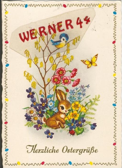 Ostern v. 1972  Zweig mit Blumen und Vogel und ein Hase mit Käfer  --  siehe Foto !!  (29281)