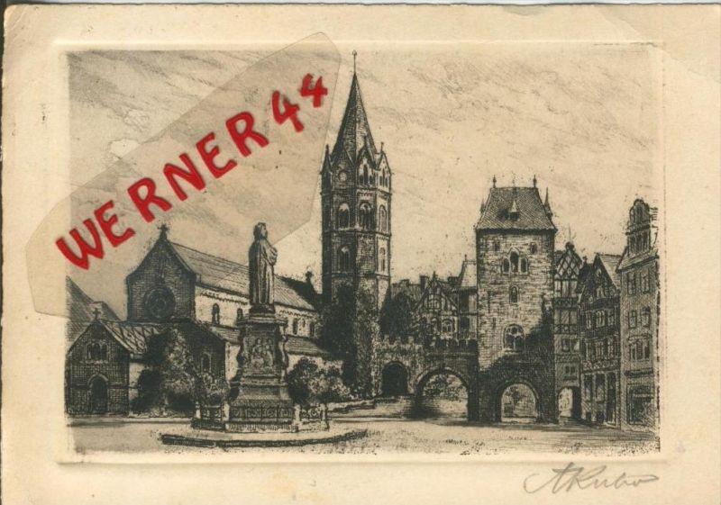 Eisenach v. 1937  Karlsplatz   (Original Radierung)  --  siehe Foto !!  (29501)