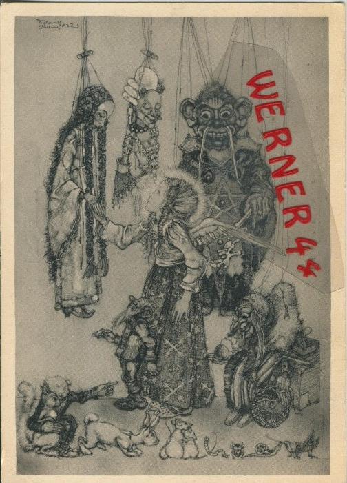 Ein Engel sieht sich Puppenspielerpuppen an v. 1933  ()  --  siehe Foto !!  (29512)