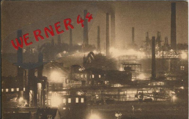 Völklingen v. 1918  Eisen-Werke bei Nacht  ()  --  siehe Foto !!  (29591)