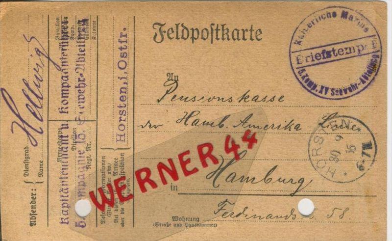 Horsten --- Feldpoststempel mit Bataillons-Anschrift -- 1. Weltkrieg  (Feldpostkarte) --  siehe Foto !!  (41)