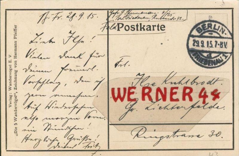 Berlin --- Feldpoststempel mit Bataillons-Anschrift -- 1. Weltkrieg  (Postkarte) --  siehe Foto !!  (43)