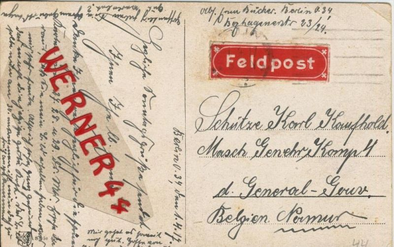 Berlin --- Feldpoststempel mit Bataillons-Anschrift -- 1. Weltkrieg  (Postkarte) --  siehe Foto !!  (44)