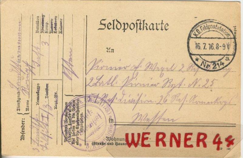 Siehe Stempel --- Feldpoststempel mit Bataillons-Anschrift -- 1. Weltkrieg  (Postkarte) --  siehe Foto !!  (45)