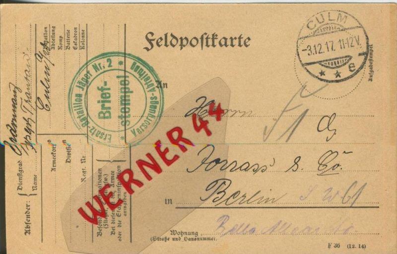 Culm --- Feldpoststempel mit Bataillons-Anschrift -- 1. Weltkrieg  (Postkarte) --  siehe Foto !!  (46)