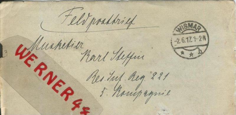 Wismar Feldpoststempel Mit Bataillons Anschrift 1 Weltkrieg