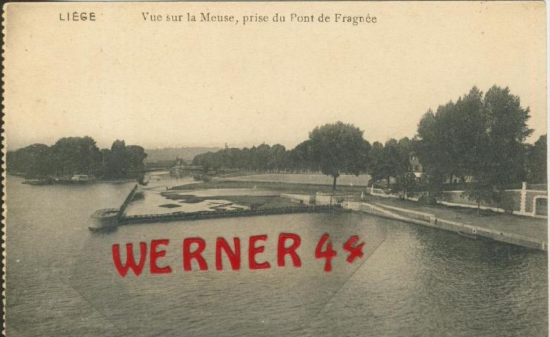 Liege v. 1920  Vue sur la Meuse, prise du Pont de Fragnee  -- siehe Foto !!  (29883)