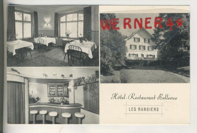 Les Rangiers v. 1955  Hotel Restaurant Bellevue ( Werbe-Klappkarte)   (31418)