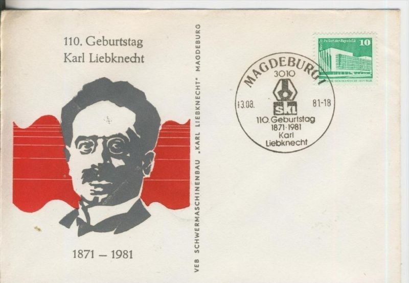 110. Geburtstag Karl Liebknecht v. 13.08.1981   (37000)