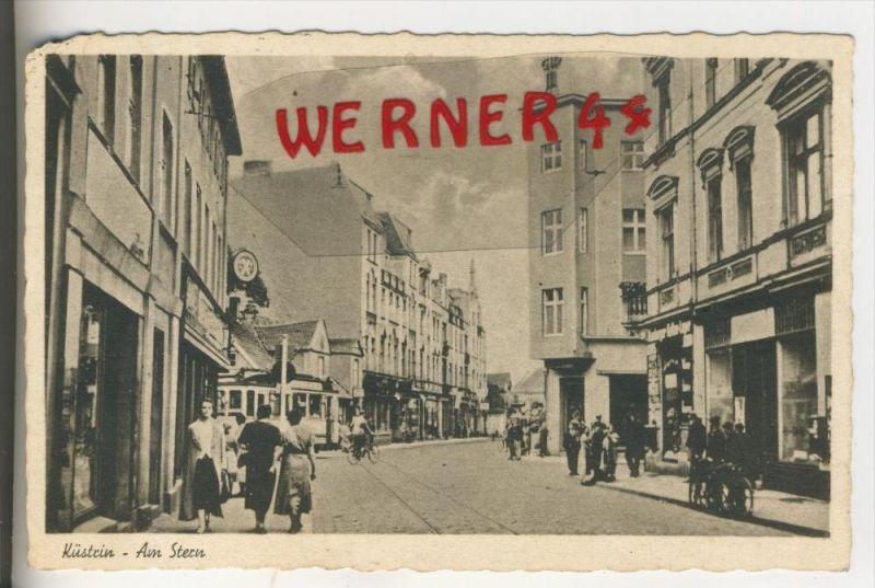 Küstrin v.1938  Am Stern & Geschäfte    (3380A)