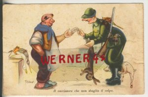 Jäger verkauft einen geschossenen Hasen am Bauern v. 1946   (31815)