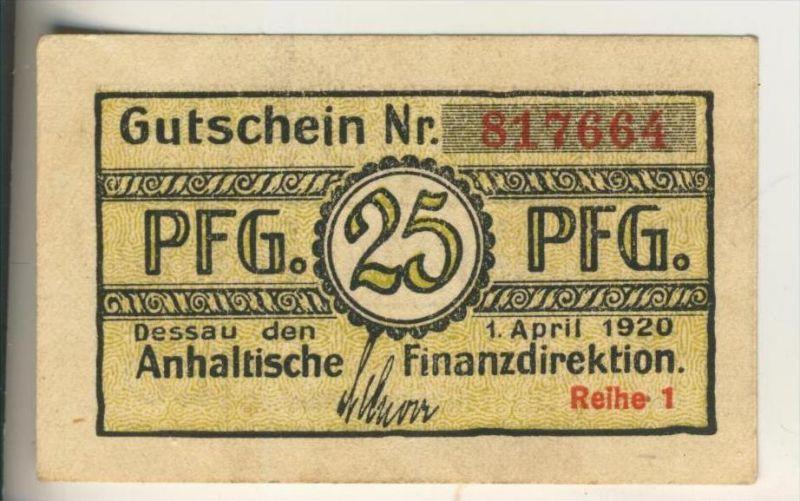 Dessau,1. April 1920, 25 Pfennig  ( GUTSCHEIN )  (014)