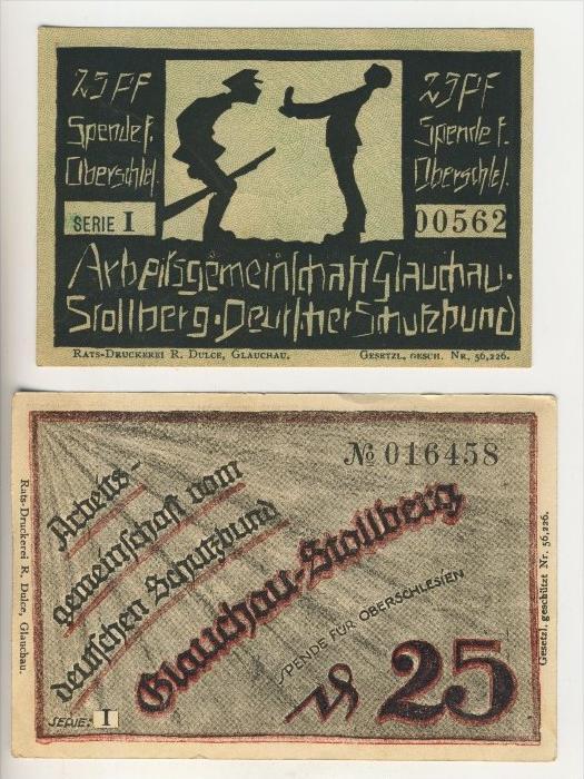 Glauchau-Stollberg, ohne Datum, Spende für Oberschlesien,Deutscher Schutzbund   ( SPENDE )  (018)