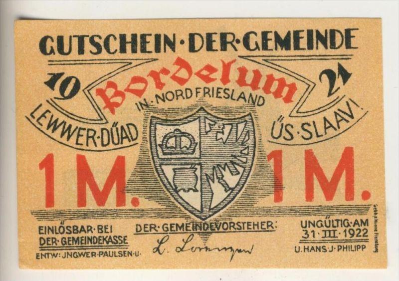 Bordelum v. 1921   1 Mark = 100 Pfennig  ( GUTSCHEIN )  (021)