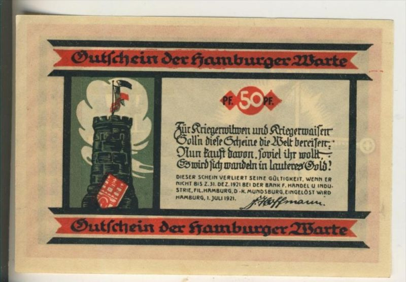 Hamburger Warte v. 1921  50 Pfennig  ( GUTSCHEIN )  (022)