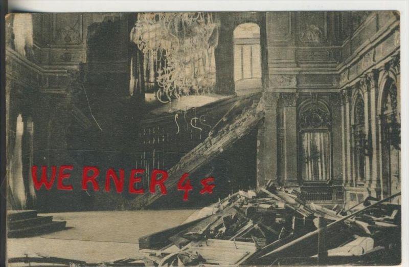 Belgrad v. 1916  Thronsaal des Konaks von Belgrad, der durch einen Granateinschlag zerstört wurde  (33628)