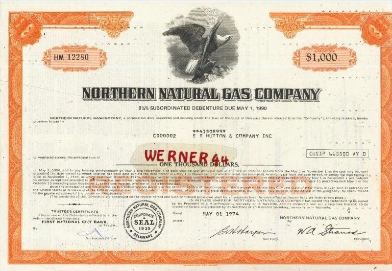 Northern Natural Gas Company von 1974  Nennwert 1000 Dollar  (40536)