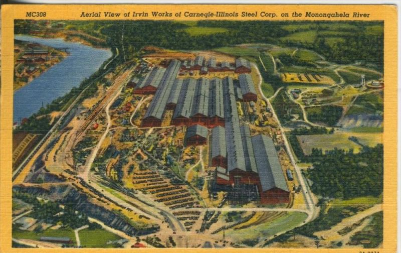 AerialView of Irvin of Works of Carnegie Illinois Steel Corp. an the Monoogahela River v. 1950  (42045)