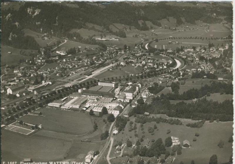Wattwill v. 1966  Flugaufnahme vom Dorf (42619)