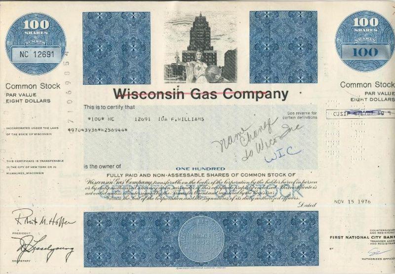 Wisconsin Gas Company  (44019)