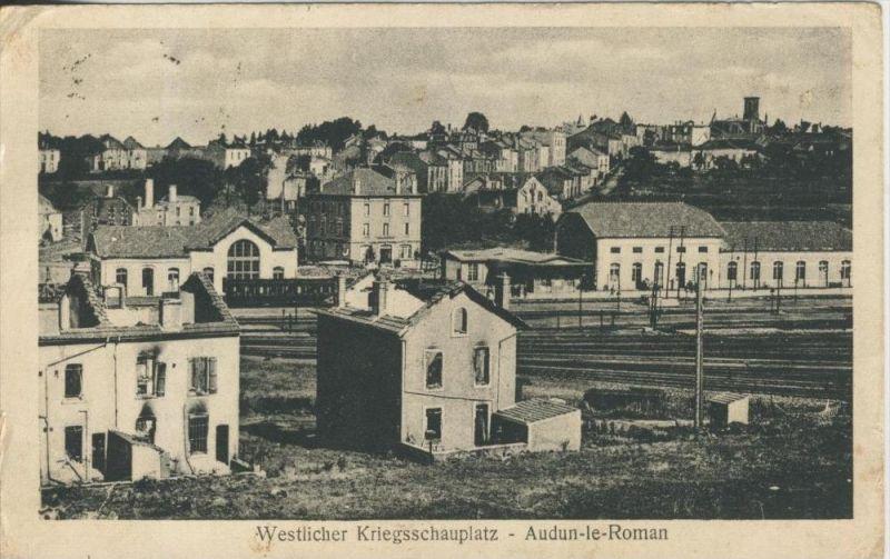 Audun le Roman v. 1918  Westlicher Kriegsschauplatz-Dorf und Bahnhof  (44209)