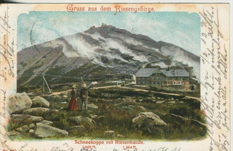 Gruss aus dem Riesengebirge v. 1903 Schneekoppe mit Riesenbaude  (45305)