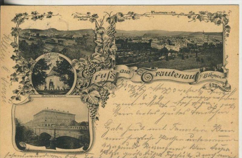 Gruss aus Trautenau i. Böhmen v. 1899 Kapelle,Dorfansicht mit Bahnhof,Hotel Union  (45307)