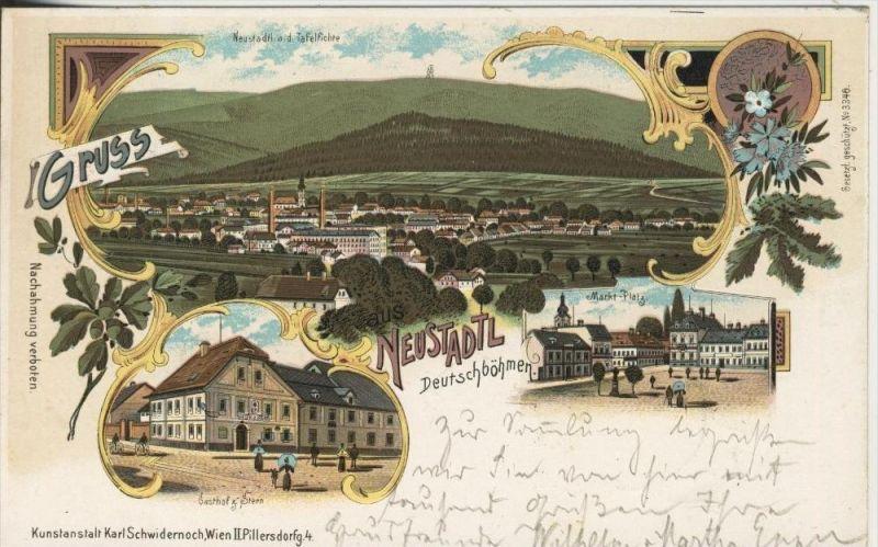 Gruss aus Neustadtl / Deutschböhmen v. 1900  Dorfansicht,Gasthof