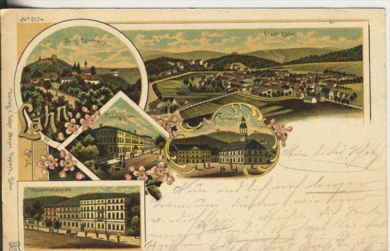 Lähn v. 1901  Dorfansicht,Burg Lehnhaus,Pädagogium,Rathaus,Wasserheilanstalt  (45309)