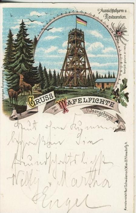 Gruss von der Wafelfichte v. 1900  Aussichtsthurm und Restauration  (45314) NEU !!