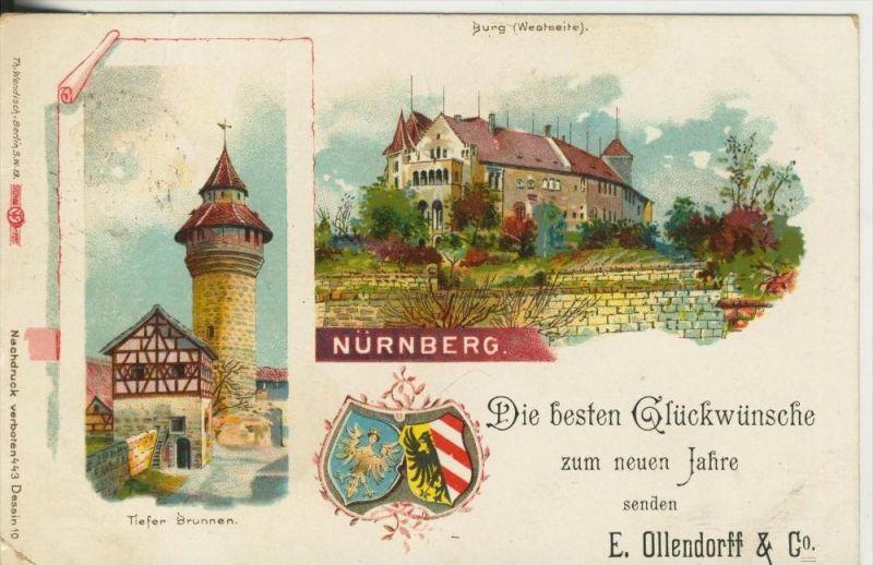 Nürnberg v. 1898  Burg & Brunnen -- Karte ist vom Geschäft E.Ollendorff & Co. (45316)