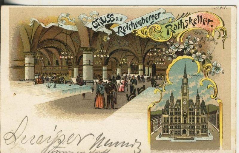 Reichenberg v. 1899  Gruss a.d. Reichenberger Rathskeller,Beds. M. Schuh (45317)