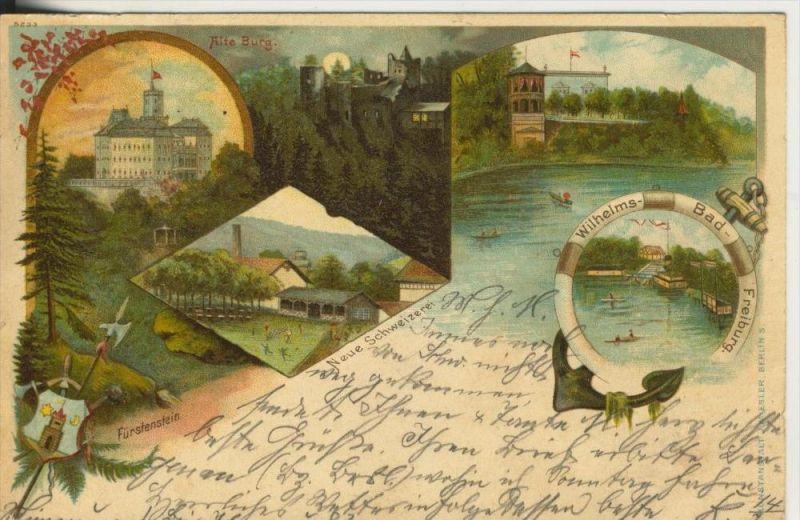 Fürstenstein v. 1899  Schloß,Neue Schweizerei,Wappen.Wilhelms-Bad-Freiburg  (45318) NEU !!