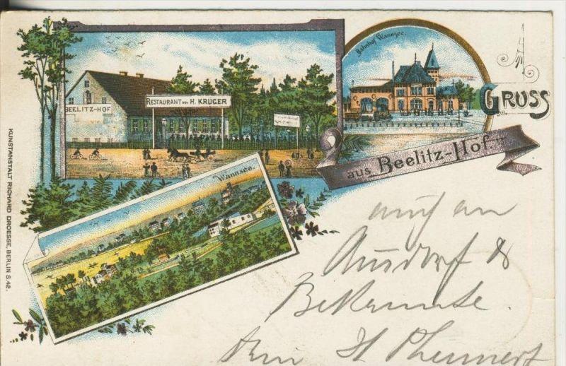 Berlin-Wannsee v. 1899  Bahnhof Wannsee,Beelitz Hof-Restaurant H. Krüger  (45321)