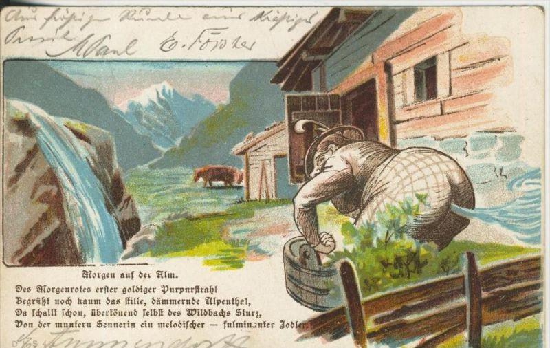 Lauban v. 1901  Morgens auf der Alm  (45328)