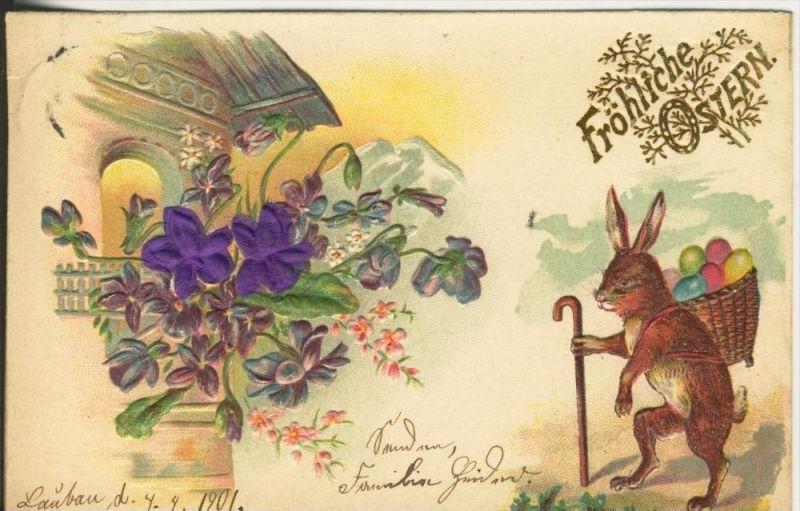 Lauban v. 1898  Fröhliche Ostern--Hase auf einer Alm  (45329)